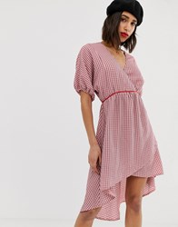 Lost Ink V Neck Dress With Kimono Sleeves In Check Pink