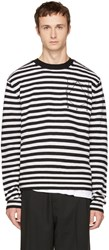 Mcq By Alexander Mcqueen Black And White Striped Glyph Logo Sweater