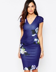 Jessica Wright Abi Floral Pencil Dress With Ruched Waist Black Floral Multi