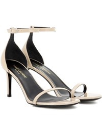 Saint Laurent Jane 80 Patent Leather Sandals Beige