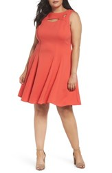 Gabby Skye Plus Size Women's Coral Cutout Fit And Flare Dress