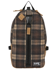 Supe Design Plaid Techno Flannel Backpack Brown