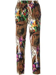 Etro Floral Print Cropped Trousers Brown