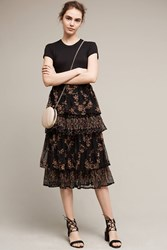 Anthropologie Mayfair Midi Skirt Black Motif