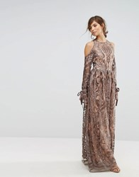 True Decadence Cold Shoulder Premium Embroidered Maxi Dress Grey