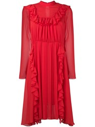 Dondup Ruffled Front Dress Red