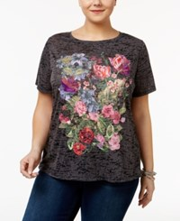 Inc International Concepts Plus Size Embroidered T Shirt Only At Macy's Deep Black