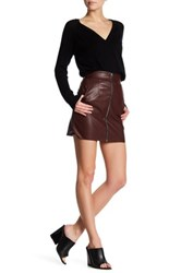 French Connection Faux Leather Zip Skirt Brown