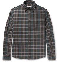 Michael Bastian Button Down Collar Checked Cotton Flannel Shirt Blue
