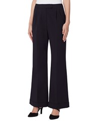 Tahari By Arthur S. Levine Petite Wide Leg Flared Trouser Pants Navy
