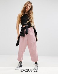 Reclaimed Vintage High Waisted Trousers With Drop Crotch In Cord Pink