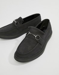 Asos Design Loafers In Black Leather With Snaffle