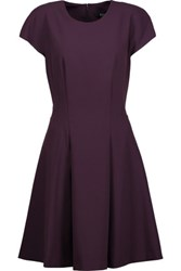 Badgley Mischka Pleated Stretch Crepe Dress Dark Purple