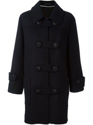 Cedric Charlier Colour Block Double Breasted Coat Blue