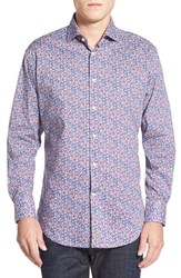 Men's Thomas Dean Regular Fit Floral Print Sport Shirt Pink