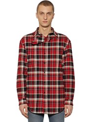 Balenciaga Checked Cotton Flannel Shirt Jacket Red