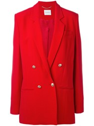 Magda Butrym Double Breasted Blazer Women Silk Acetate Viscose 38 Red