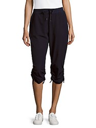 Andrew Marc New York Elasticized Cropped Pants Deep Navy