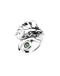 Uno De 50 Leaves Crystal Cocktail Ring Silver