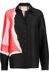 Roksanda Ilincic Color Block Silk Shirt Black