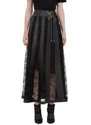 Christopher Kane Long Leather And Lace Panelled Skirt Black