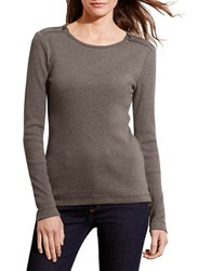 Lauren Ralph Lauren Petite Cotton Zip Shoulder Tee Grey
