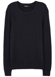 Tiger Of Sweden Addams Midnight Blue Cable Knit Cotton Jumper Navy