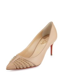 Christian Louboutin Baretta Studded Red Sole Pump Nude Light Gold Girl's Size 41.0B 11.0B Nude Lightgold