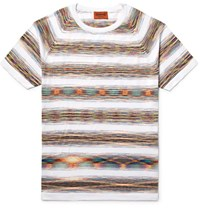 Missoni Slim Fit Space Dyed Knitted Cotton T Shirt White