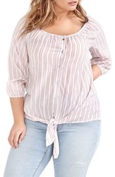 Addition Elle Love And Legend Plus Size Women's Stripe Tie Front Shirt Copper Tan