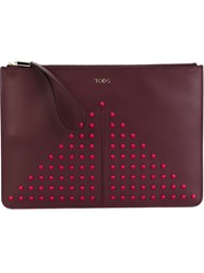 Tod's Studded Zipped Clutch Red