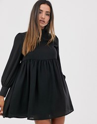 Fashion Union Smock Dress With High Neck And Key Hole Detail Black