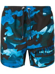 Neil Barrett Dance Camouflage Print Swim Shorts Blue