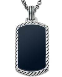 Esquire Men's Jewelry Onyx 36 X 20Mm Dog Tag Pendant Necklace In Sterling Silver First At Macy's