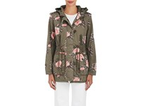 Members Only Women's Floral Cotton Hooded Jacket Dark Green