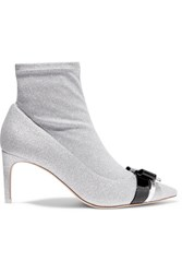 Sophia Webster Andie Bow Leather Trimmed Glittered Stretch Knit Ankle Boots Silver