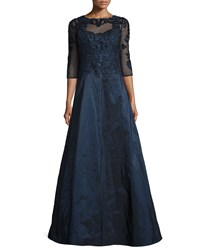 Rickie Freeman For Teri Jon 3 4 Sleeve Embroidered Lace And Taffeta Gown Navy