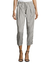 Fade To Blue Pleated Tencel Trousers Faded Gray