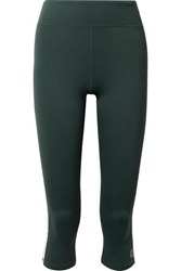 Tory Sport Cropped Striped Stretch Leggings Forest Green