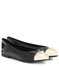 Versace Embellished Patent Leather Flats Black