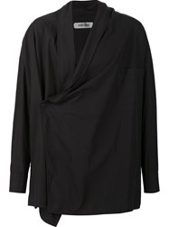 Ziggy Chen Wrap Front Shirt Black