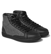 Brioni Gymnasium Leather And Felt High Top Sneakers Black