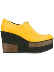 Paloma Barcelo Wedge Lace Up Shoes Yellow And Orange