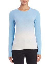 Lord And Taylor Dip Dyed Cashmere Crewneck Blue Coast