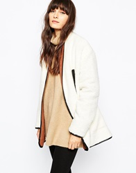 Paisie Faux Shearling Coat With Contrast Collar Cream