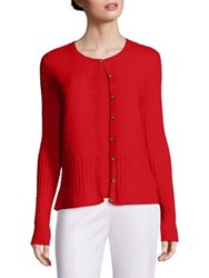 St. John Long Sleeve Cardigan Hibiscus