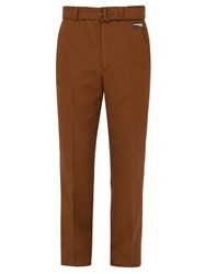 Prada Belted Mohair Blend Straight Leg Trousers Brown
