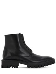 Balenciaga Leather Lace Up Boots Black