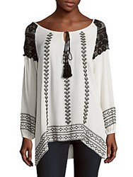 Raga Embroidered Tie Front Blouse Black White Combo