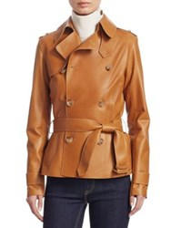 Ralph Lauren Buffy Leather Trench Jacket Brown